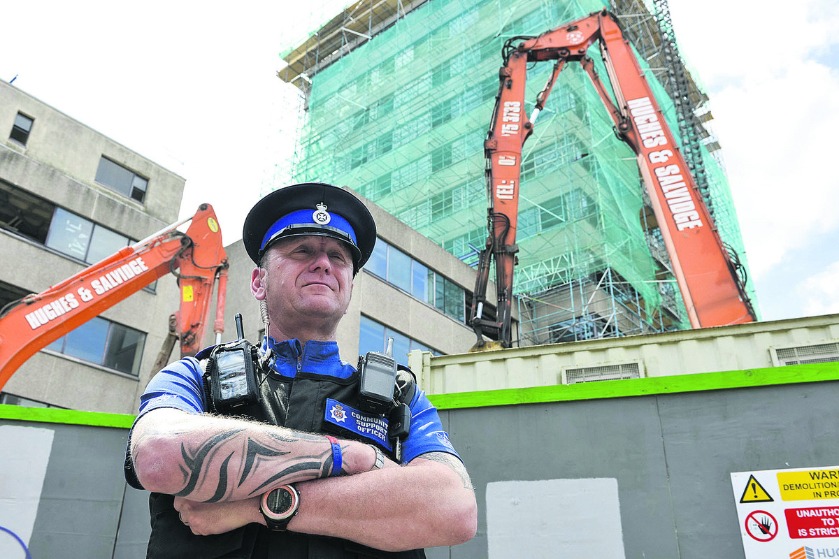 PCSO Charlie Milne outside Aspen House where there have been recent reports of trespassing at the former register office                                                                                  Picture:  Alex Skennerton