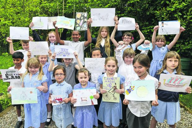 Pupils from Catherine Wayte Primary school have entered a drawing competition to help promote Walk to School Week – the drawings all depict methods of transport throughout history