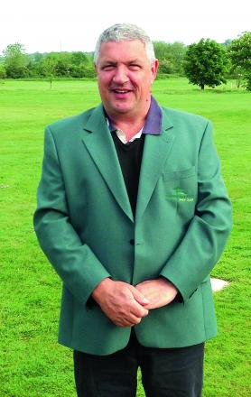 Last year's winner Colin Driscoll of the Woodbridge Park Golf Club Masters pictured wearing the green jacket