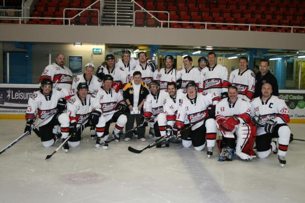 Swindon Panthers pictured with new mascot Kieran Cookson