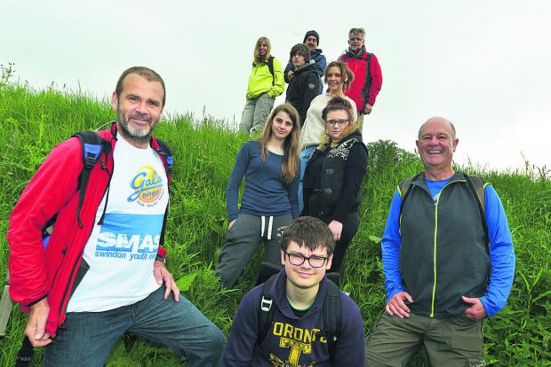 Young people from SMASH walking the Ridgeway with their mentors
