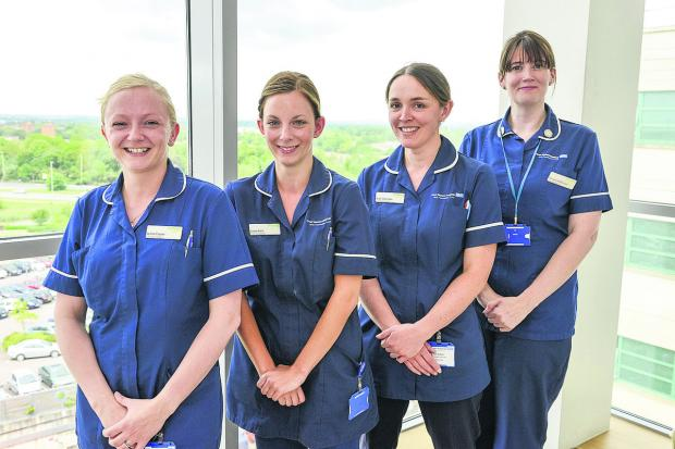 Prospect Nurses working at the Great Western Hospital. Pictured, left to right, are Lynne Coyne, Laura Kent, Ruth Alderton, Petrena Heffernan
