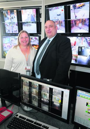 Cabinet member for public safety Councillor Emma Faramarzi with  security manager for Swindon council Mark Stratford in the CCTV control room