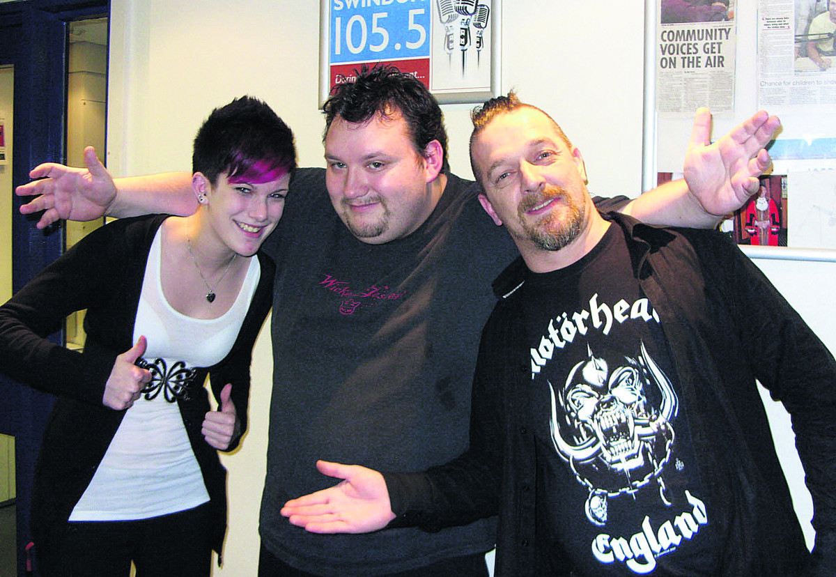 "DJ Tom ""Himself"" Humber, centre, who died of a heart attack aged 32 pictured with two musicians in the studio at Swindon 105.5"