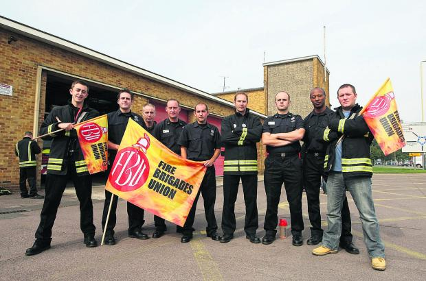 Firefighters pictured outside Drove fire station on a previous strike against proposed changes to their pensions