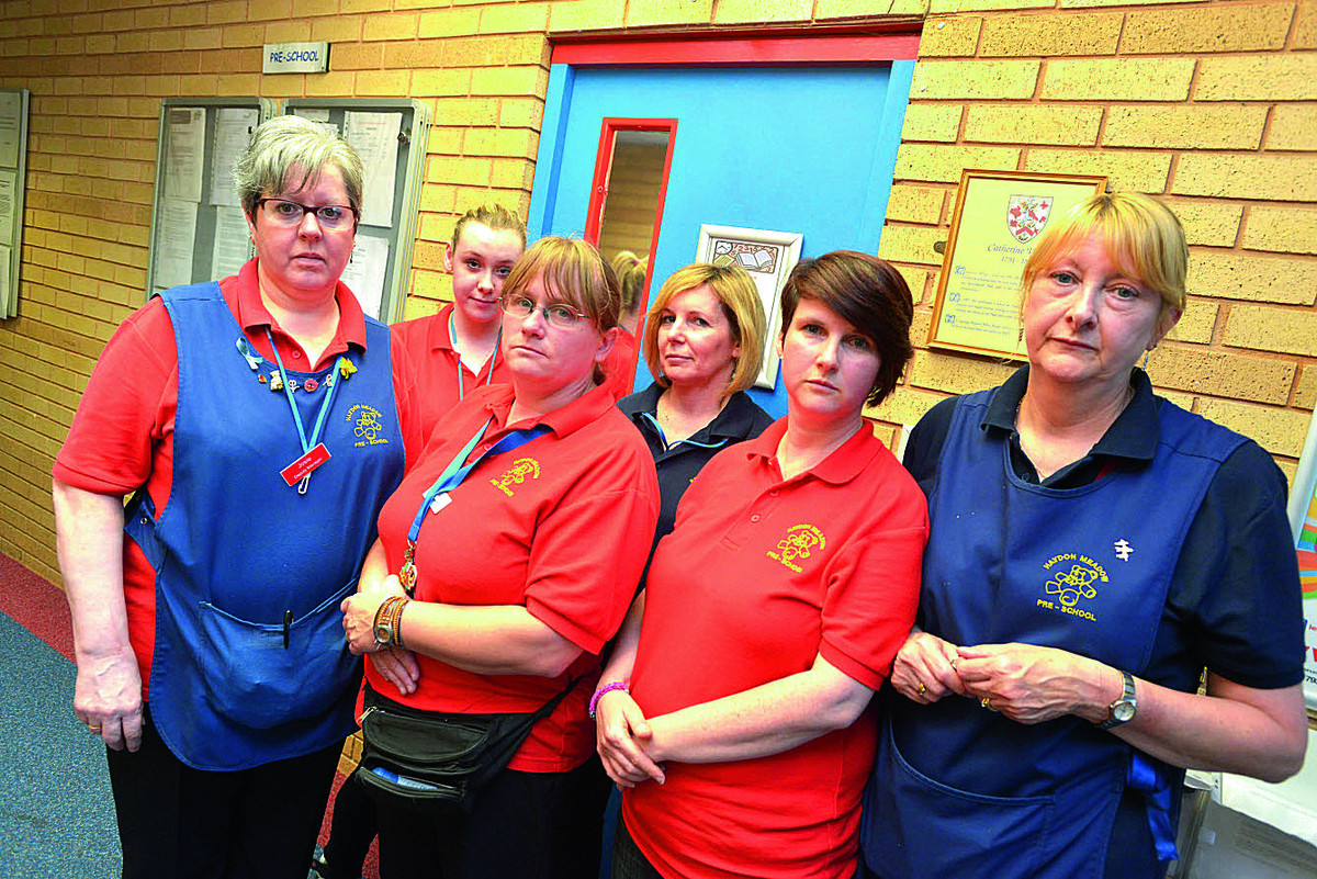 Haydon Meadow pre school staff at the sessional door which has caused issues for the education watchdog. Picture: THOMAS KELSEY