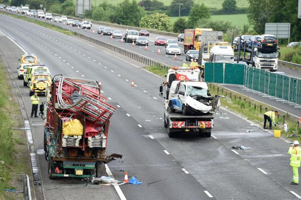 The aftermath of the crash scene on the M4 on Monday morning