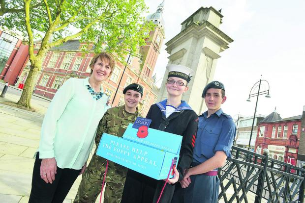 Shirley Ludford, left, the manager of Swindon 105.5 Radio, launching this year's poppy appeal with Veronica Bretti, Elizabeth Lawton and Lewis Williams