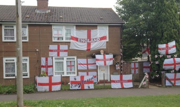 Graham Dunn's Penhill Drive home is adorned with England flags
