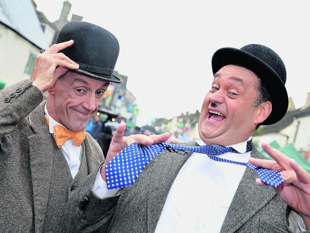 A tribute to a great comedy double act from Haurel and Lardy at last year's Cricklade Festival in Cricklade High Street