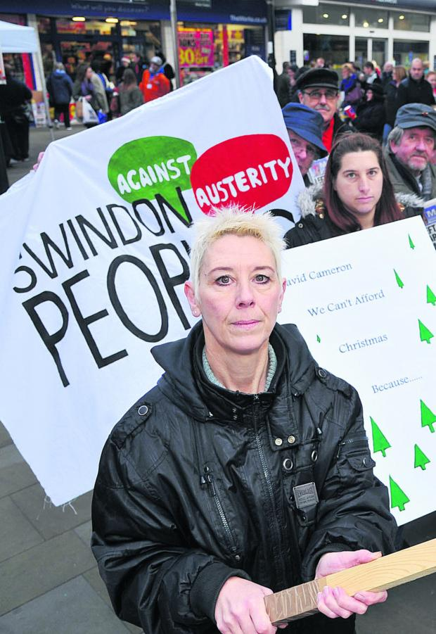 Swindon Advertiser: Kate Linnegar at an austerity protest last year