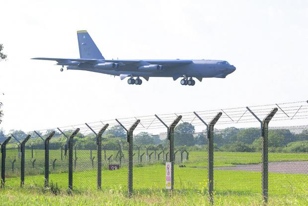 A B52 bomber lands at RAF Fairford
