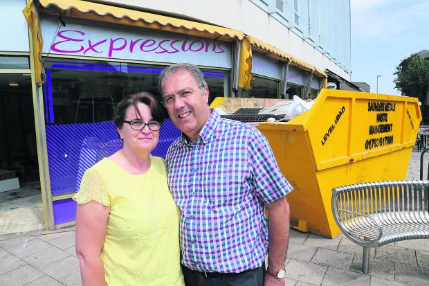 Tracey and Chris Bryant outside the store