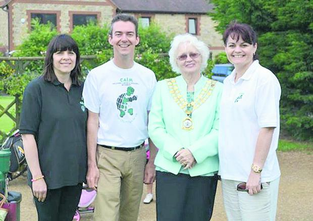 Helen Steward, Richard Crowley, mayor Teresa Page and Sam Goodchild at thecharity golf day in aid of CALM
