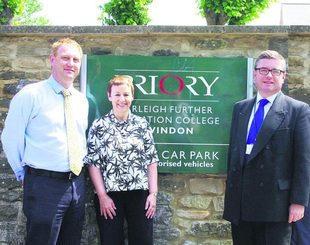 MP Robert Buckland with Farleigh College principal Martin Bentham and Sally Grubb, the college's head of learning