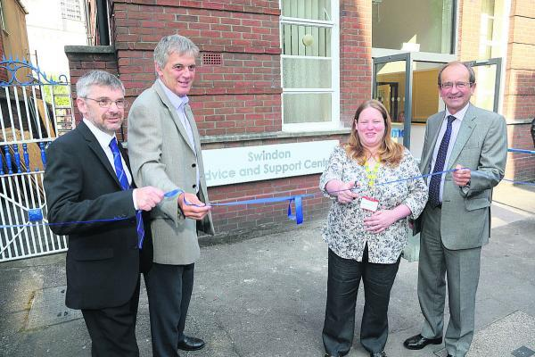 Sanford House has re-opened as the Swindon Advice and Support centre. Cutting the ribbon are, left to right, Paul Bearman, Director of commissioning for CCG, David Wray, Chief Executive of Voluntary Action Swindon, Claire Newport, Chief Executive of Citiz