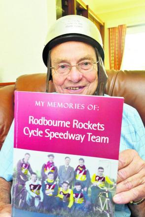 Barrie Telling with the book put together by his son-in-law David White and, inset, in his racing days with the Rockets