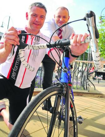 Greig Evenett, left, and Danny Goggin are doing a bike ride from the UK to Paris to raise funds for a bereavement suite at GWH
