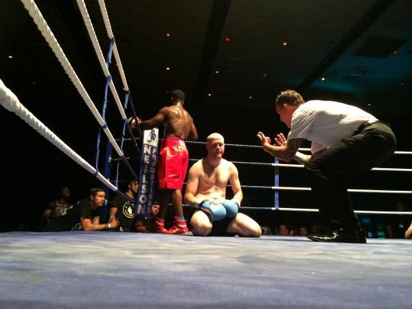 Danny Brennan takes a count as he goes down to Shawn Grant at the latest Neilson Promotions's show