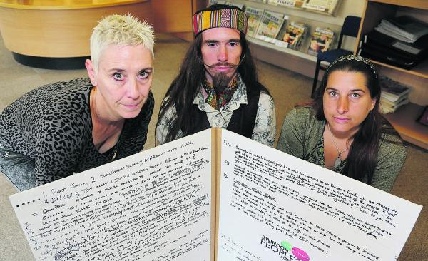 Members of Swindon's People's Assembly pictured with a petition which they are handing in to David Cameron at No10 next week. Left to right, Kate Linnegar, James Yeowell and Angel Grace