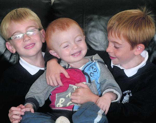 Josh Nesbit, pictured at home last year with brothers Jack and James. Josh was diagnosed with a rare disease and his life was saved by having a liver transplant
