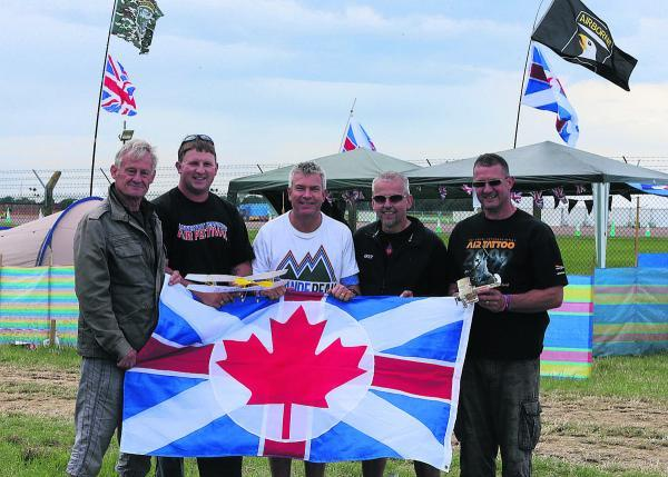 Aviation fans Bernie Cooper, Scott Whittaker, Rod McDonough, Barry Scanes and Simon Whittaker