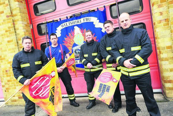 Firefighters at Drove fire station during a strike earlier this year. They will join council workers on strike today