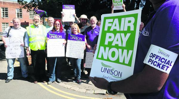 Council workers demonstrate outside Swindon's civic offices