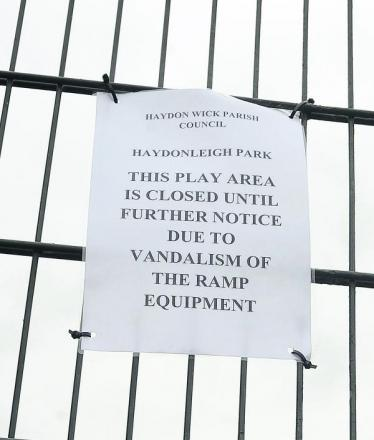 The notice on the gate of the skate park