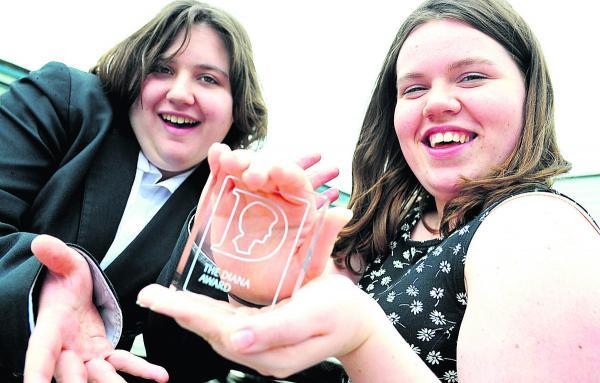Rhiannon Davies, right, and Olivia Tuck from Pit Stop Ridgeway school have received a Diana Award for an anti-bullying campaign . They both went to London to receive their award