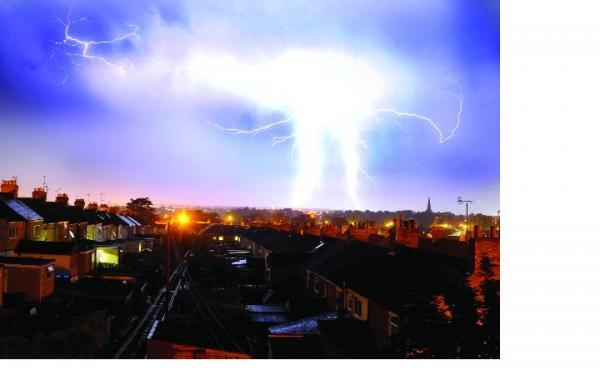 An electrical storm breaks spectacularly over the town centre