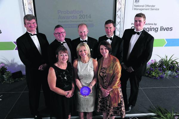 The Five Wards team at the awards ceremony. Front row, from left, Alison Butler, Angela Kennedy and Sophia Best. Back row, Russell Frith, Mark Walker, Steve Winter, David Henretty and Jordan Thorne