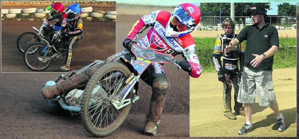 Nick Morris in action for Swindon, main picture; top left, taking on Darcy Ward as a junior. Right, getting guidance from Jason Crump