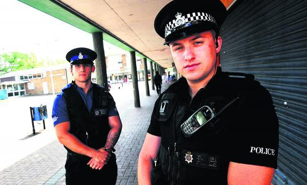 PC Dan Ashfield, right, with PCSO Alex Pawlowski, who are enforcing the dispersal order in Sussex Square to deal with anti-social youths