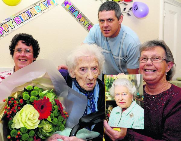 Phyllis Oborne celebrating her 100th birthday at Fairhaven Residental Home in 2012