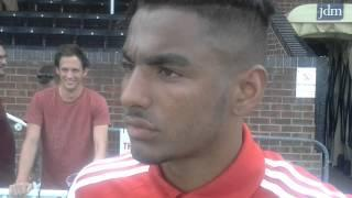 Josh Lelan meets the local media for the first time after signing for Swindon Town