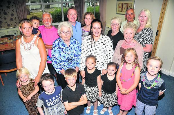 Barbara King is surrounded by five generations of her family for the biggest 85th birthday surprise