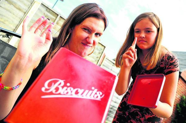 Biscuits are off limits as Kerry Garbutt, left, and Nicole Furmedge take part in an Alive and Kicking health programme giving support on diet and exercise