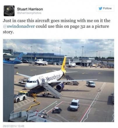 Adver picture editor Stuart Harrison posted this tweet before his plane had to make an emergency landing