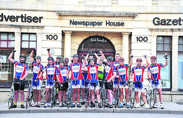 Swindon Wheelers setting off from the Advertiser office for their 160km bike ride to the Severn Bridge for the 160 Appeal