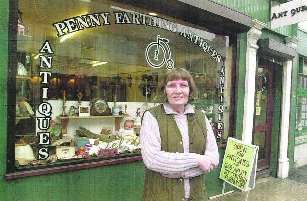 Ann Farthing outside her shop which she ran for many years in Victoria Road