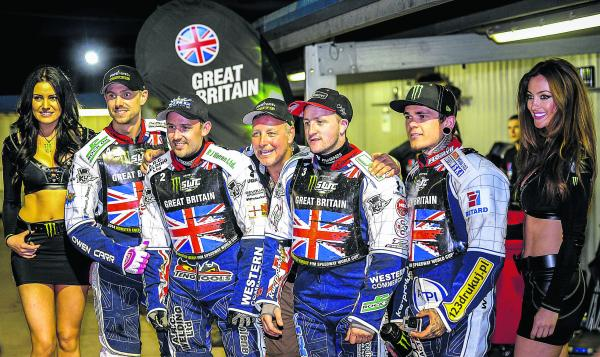 Robins' boss Alun Rossiter celebrates with his Great Britain team after they secured their place in the World Cup final last weekend