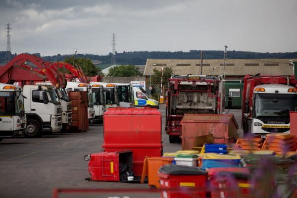 Police on the scene at the Biffa depot in Avonmouth