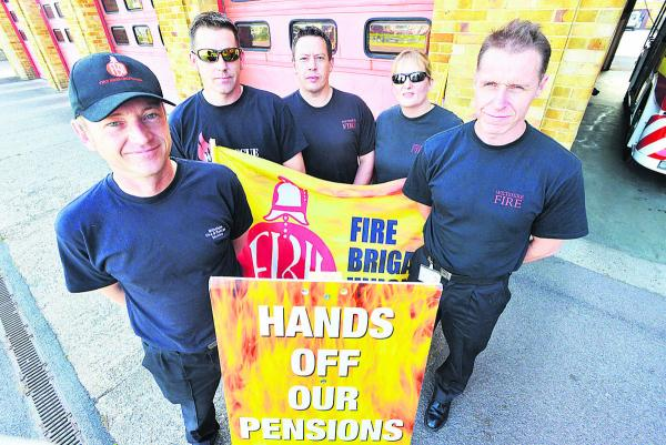 Firefighters at Drove Station during a strike last month