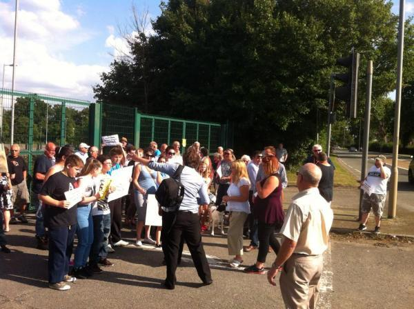 Protesters meeting at former park and ride site