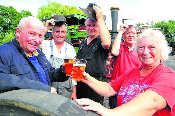 From left, Mike Woodroffe, Colin Hatch, Peter Tye, John Pile and Val Drinkwater at Swindon  and Cricklade Railway's vintage and real ale event
