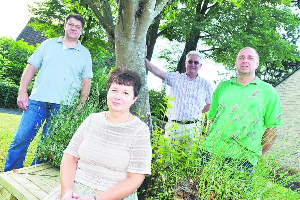 Mark Jones, Ian Jankinson, Rachel Smith and Paul Schofield, of Blunsdon, which has won the Wiltshire Best Kept Village Of The Year award