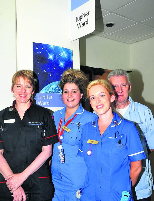 The Jupiter Ward at Great Western Hospital is being refurbished and adapted to the needs of dementia patients. Pictured, left to right, are Wendy Johnson, Annie Shilston, Zara Norman and David Browne
