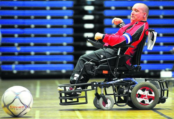 Matt Stab in action at Swindon Rockets powerchair football tournament