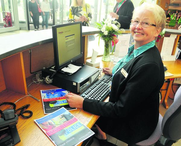 GWH receptionist Maureen Bristow, who has had to deal with abuse from patients